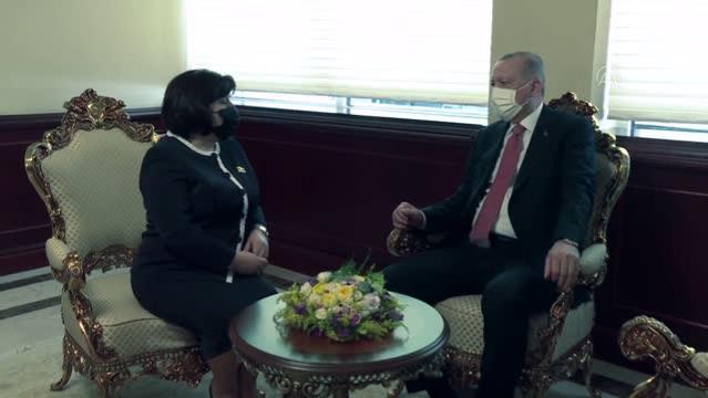 Cumhurbaşkanı Erdoğan, Azerbaycan Milli Meclisi Başkanı Gafarova ile görüştü