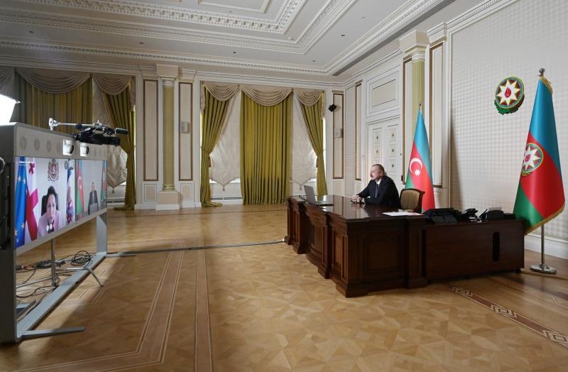 Gürcistan ve Azerbaycan Cumhurbaşkanları video konferans yoluyla görüştü